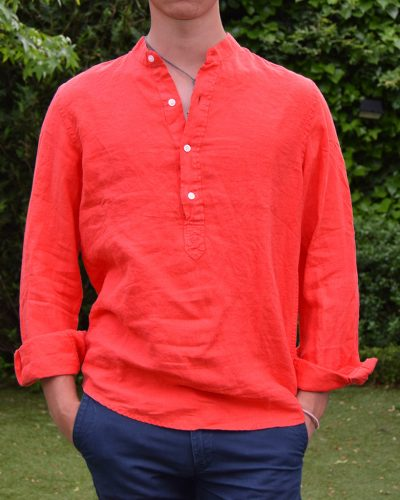 camisa lino cuello mao color coral