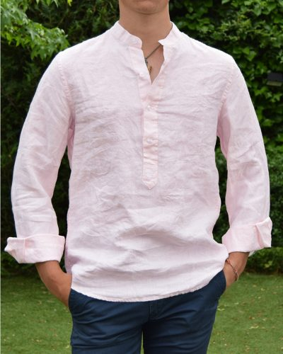 camisa de lino cuello mao color rosa